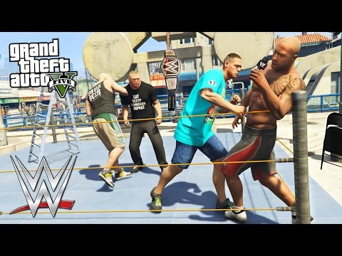 GTA 5 Mods - WWE MOD w/ JOHN CENA, THE ROCK, BROCK LESNAR &
