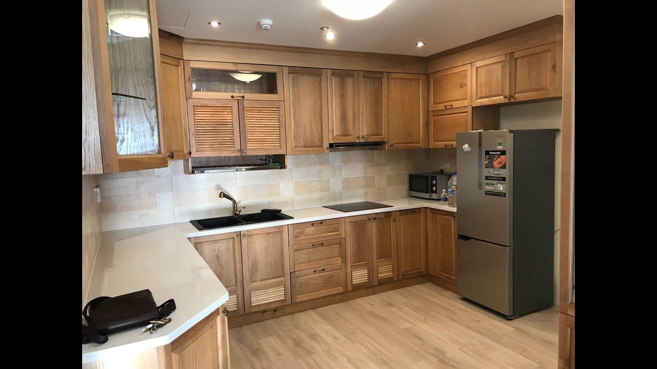 Kho Tư liệu Xây dựng – Tủ bếp bằng gỗ sồi Mỹ đẹp tường milimet