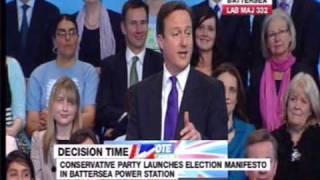 David Cameron launches the Conservative's 2010 manifesto