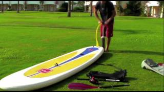 Inflating a Red Air - Inflatable Stand Up Paddle Board