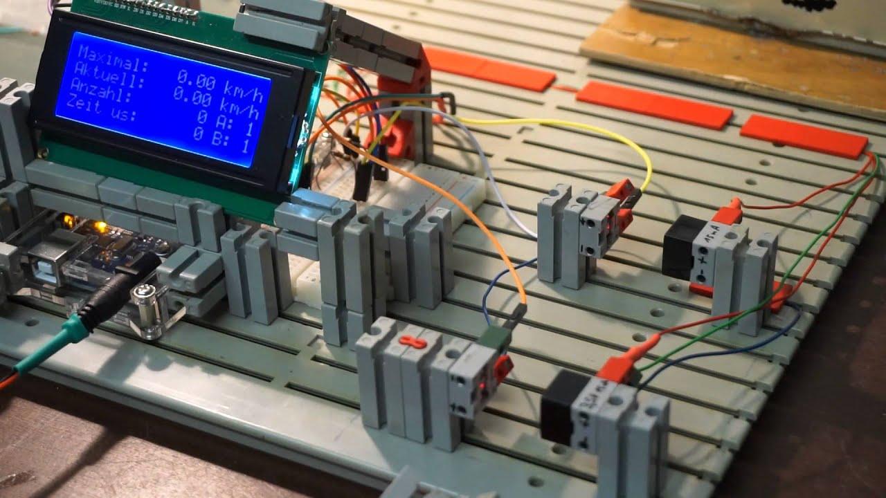 Geschwindigkeitsmessung mit arduino über zwei laserlichtschranken