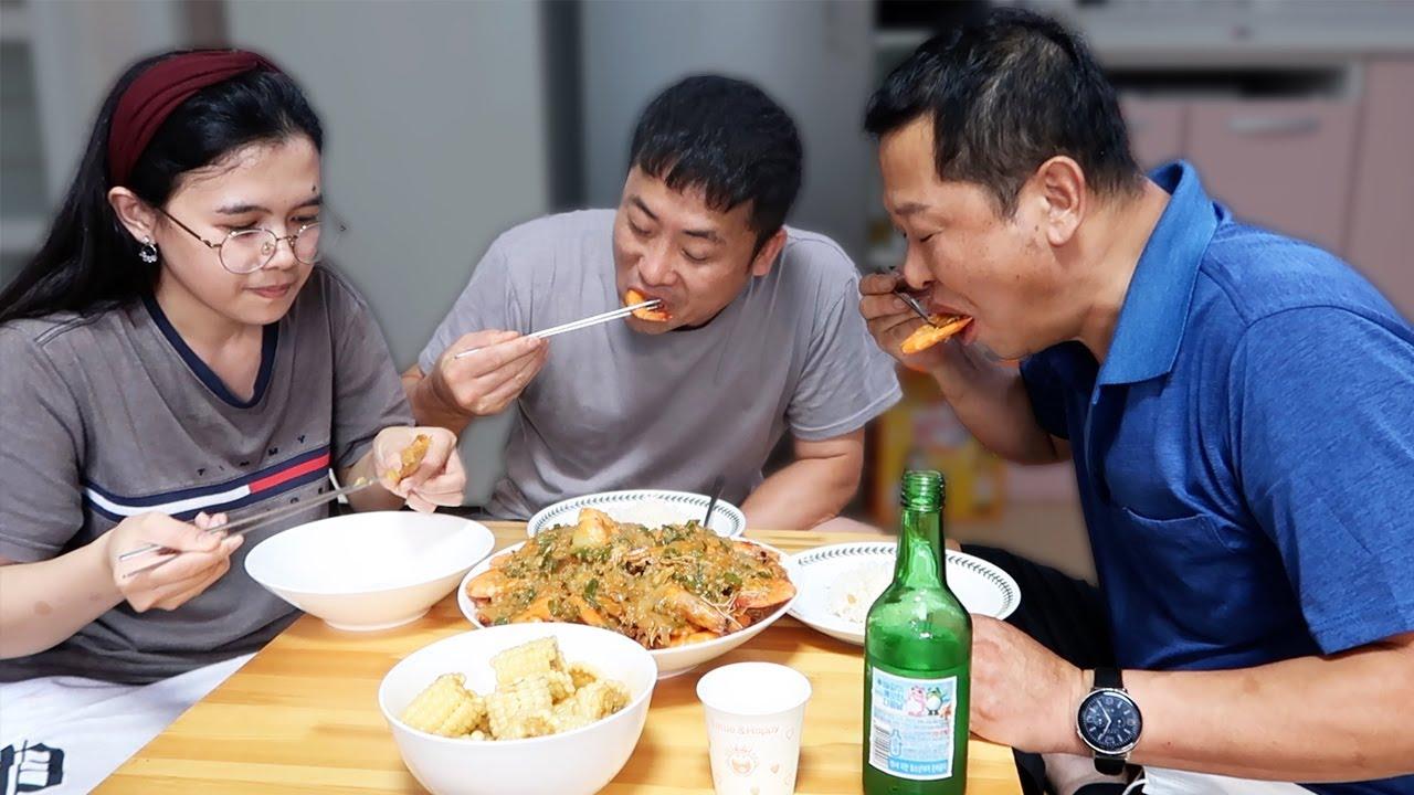 DINAMAY NA SI KUYA SA GARLIC SHRIMP😂🍤♥️ NAADIK SA SARAP NG LUTONG PINOY😂( Korean filipino family)