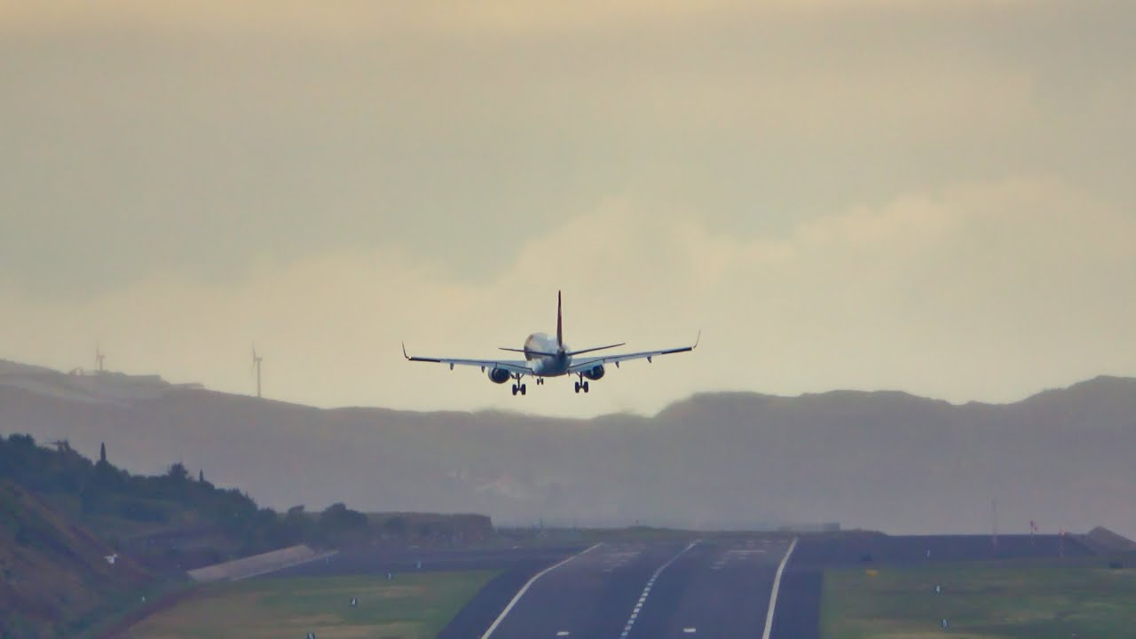 GREAT CROSSWIND LANDING TAP EMBRAER E195AR Madeira Airport 27.06.2020