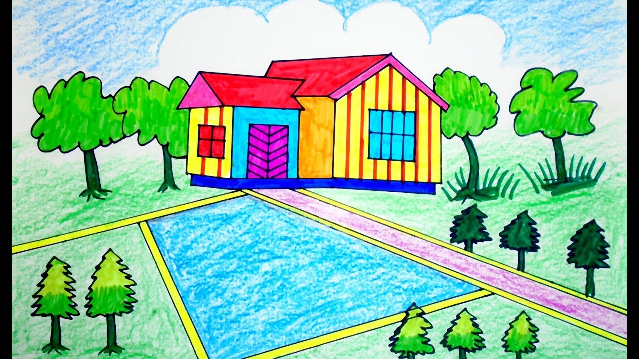 How To Draw Scenery Of Beautiful House Drawing For Beginners Landscape Step By Step Youtube