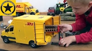 bruder toys mercedes sprinter dhl unboxing and action by jack 3