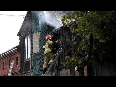 Pożar domu przy ul. Pięknej w Pabianicach