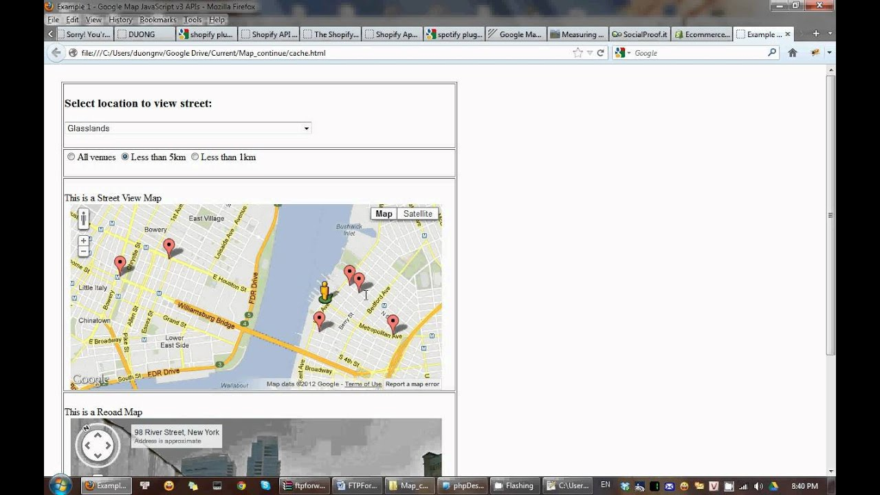 Geo Location And Calculate Distance Show In Google Map And Street - Show google map using latitude and longitude javascript