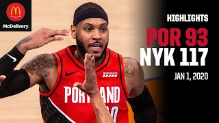 Trail Blazers 93, Knicks 117 | Game Highlights by McDelivery | January 1, 2020