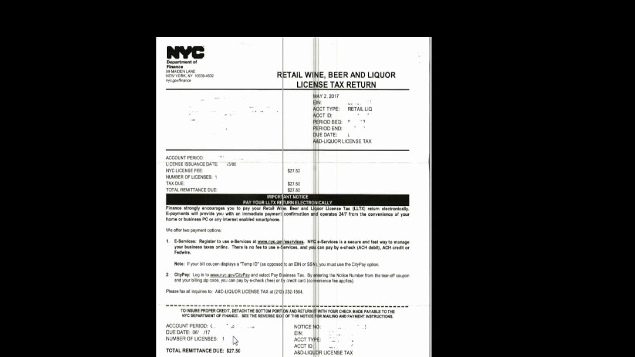 Nyc Sales Tax >> Retail Wine Beer And Liquor Sales Tax Return Youtube