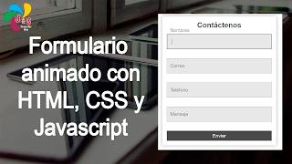 Formulario animado con HTML, CSS y Javascript
