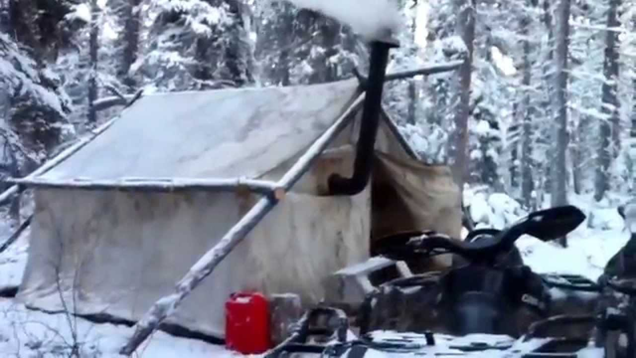 & Canvas tent with a wood stove. - YouTube
