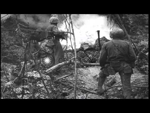 81st Army Division Marines attack Japanese sniper hidden in boat at Peleliu Islan...HD Stock Footage
