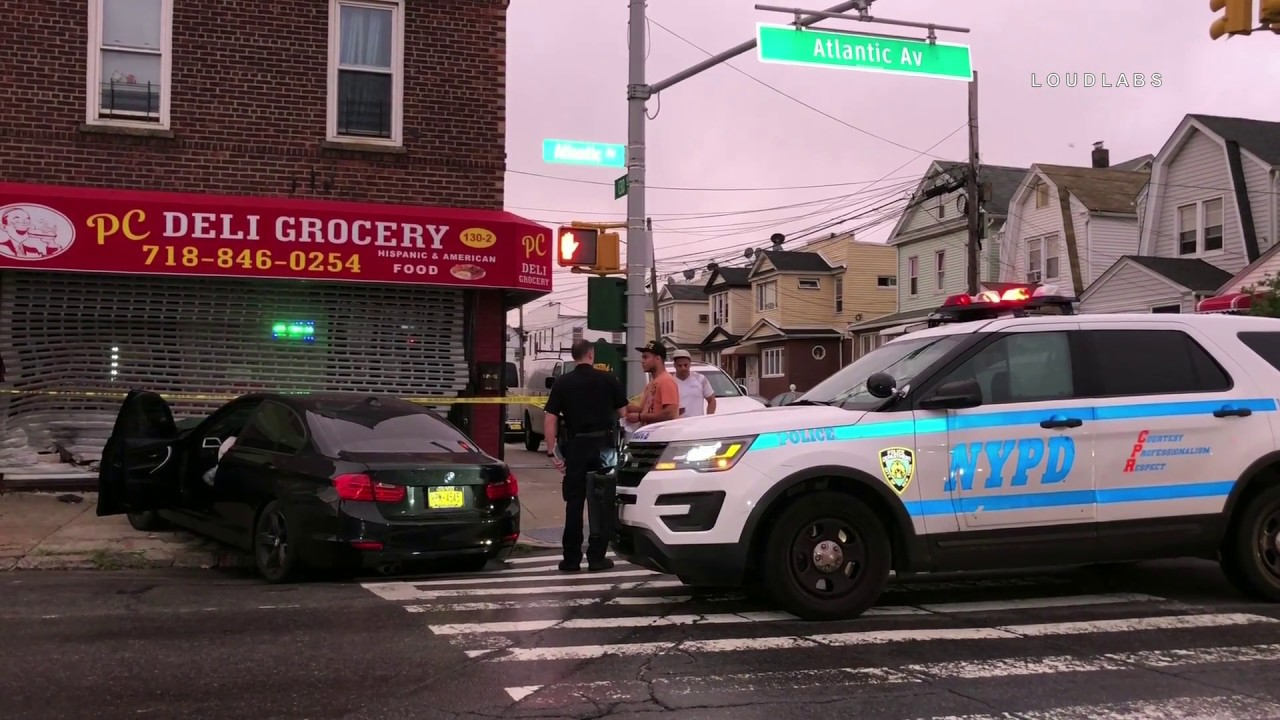 queens: bmw crashes into store - youtube