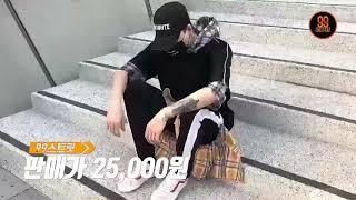 99스트릿패션 / 체크 후드 남자 오버핏 반팔티