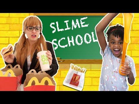 Slime School Teacher Fail! Students Sneak McDonalds Happy Meal Food- New Toy School