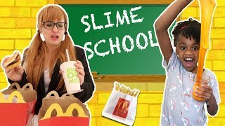 Slime school teacher miss krachet gives the students a test with mcdonalds happy meal food classroom. students, naiah and elli, sn...