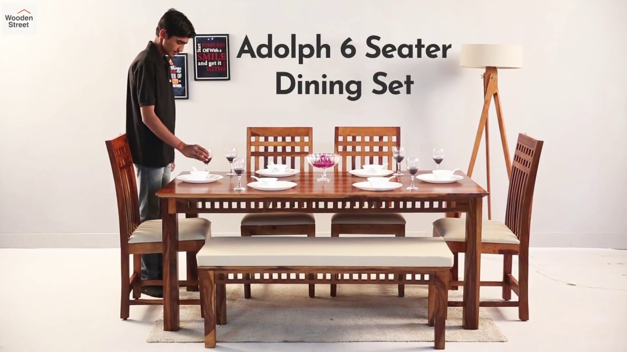 6 Seater Dining Set : Buy Adolph 6 Seater Dining Table Set @ Wooden Street