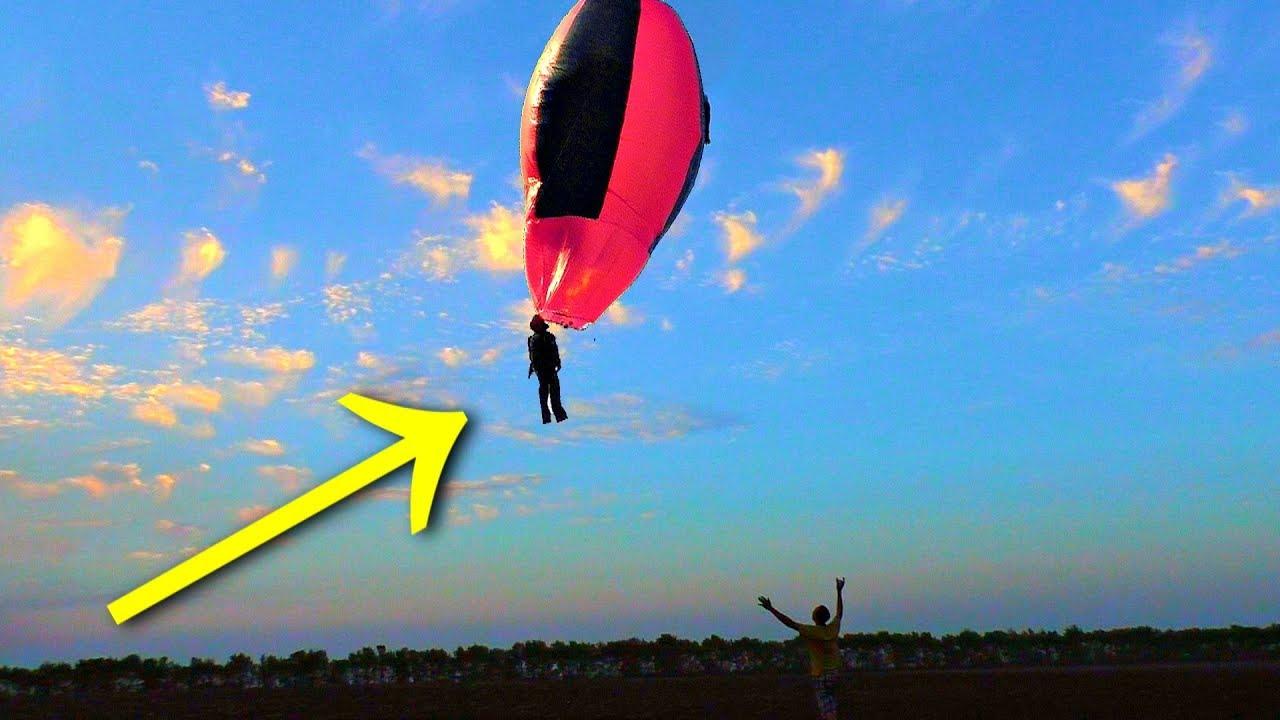 ✅Полёт каскадёра на самодельном Воздушном Шаре из плёнки и скотча