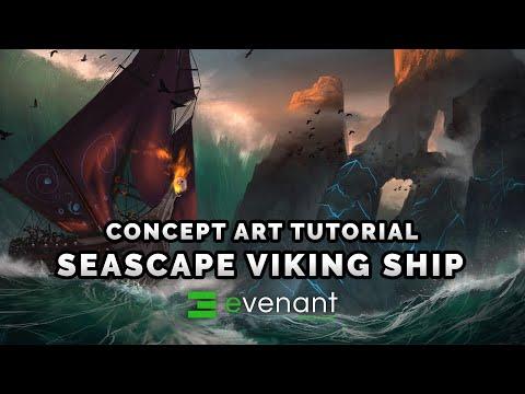 Stormy Sea Viking Ship - Digital Painting Tutorial - Concept Art