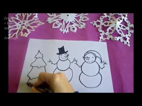 Schneemanner Tannenbaum Zeichnen Weihnachtskarten Selber Malen