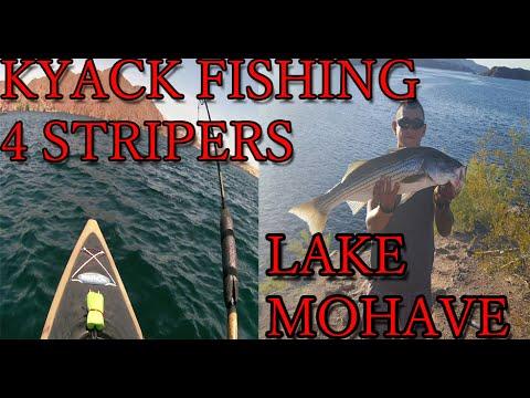 Kyack fishing for striped bass lake mohave az youtube for Bass fishing az