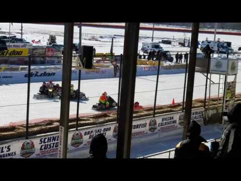 Winter Spectacular 2017 Champ 440  Snowmobile Heat Race.  Viking Speedway.  TLR Cup.  Day 1