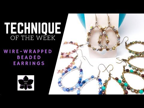 Beaded Wire Wrapped Earrings   Technique of the Week   Jewelry Making Tutorial (beebeecraft.com)