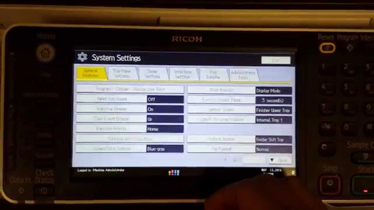 Ricoh MP Series Default Login admin at Device Panel