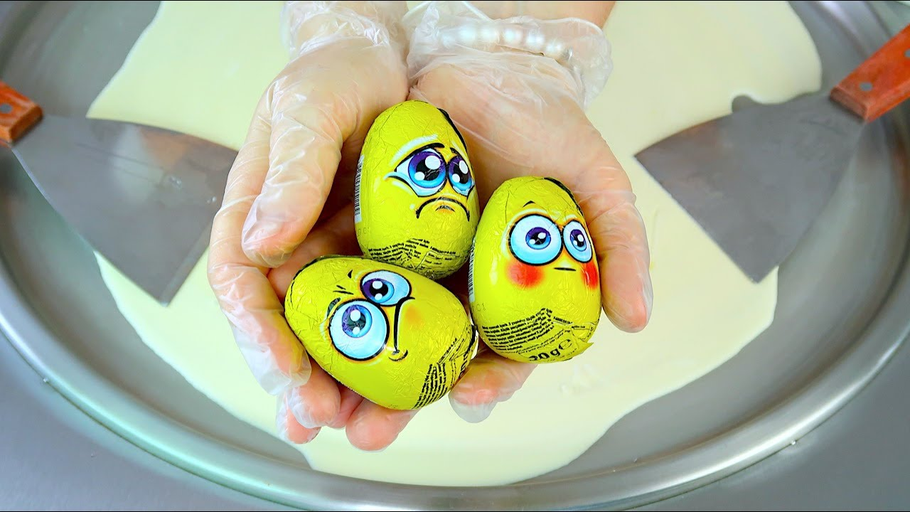 ASMR CHOCOLATE EGG SURPRISE ICE CREAM Rolls Oddly Satisfying Fried Ice Cream Food 108MAMATV