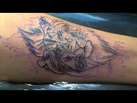LION WATERCOLOR TATTOO TIME LAPSE