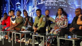 🍭 MARVEL'S Black Panther Press Conference: Lupita Nyong'o, Chadwick Boseman, Michael B. Jordan PT 1