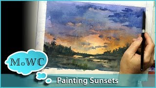 How to Make a Sunset Glow in Watercolor.