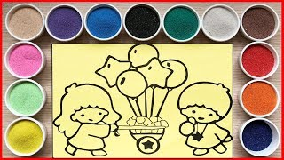 Đồ chơi TÔ MÀU TRANH CÁT CÔ BÉ CẬU BÉ BÁN BONG BÓNG Sand painting toys Chim Xinh
