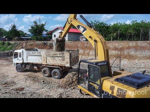 ดู รถแบคโฮ CAT 320D ขุดดิน รถบรรทุกสิบล้อ ดั้มเทดิน งานขุดบ่อน้ำ Excavator Thailand truck Thailand