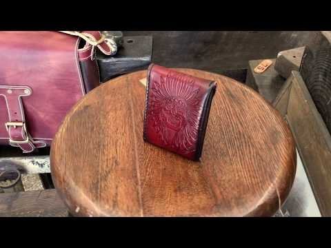 Dirty Red Leather Sarasota Pocket Wallet with Silver Snap and Indian Chief Art