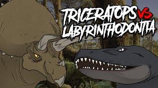 TRICERATOPS VS LABYRINTHODONTIA - Jurassic World | iTownGamePlay