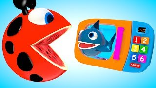 Pacman Ladybug meets a microwave toys, shark animal friends when he travel rolling around on farm