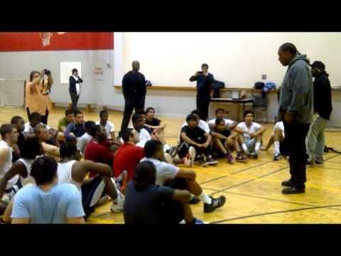 Toronto Thunder NFL Denver Broncos Orlando Franklin speaks to kids of ALSC Football Factory