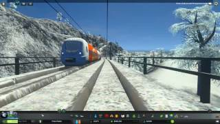 Cities: Skylines Alpine Long Train Ride Stunning snowy alps
