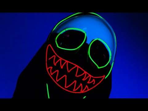 Light Up Neon LED EL Wire Clown Mask From TurnNeon.com - YouTube