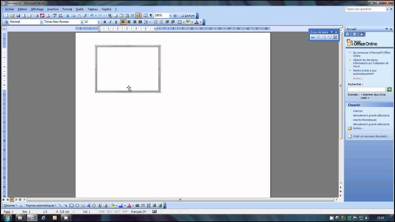 image cv zone de texte word