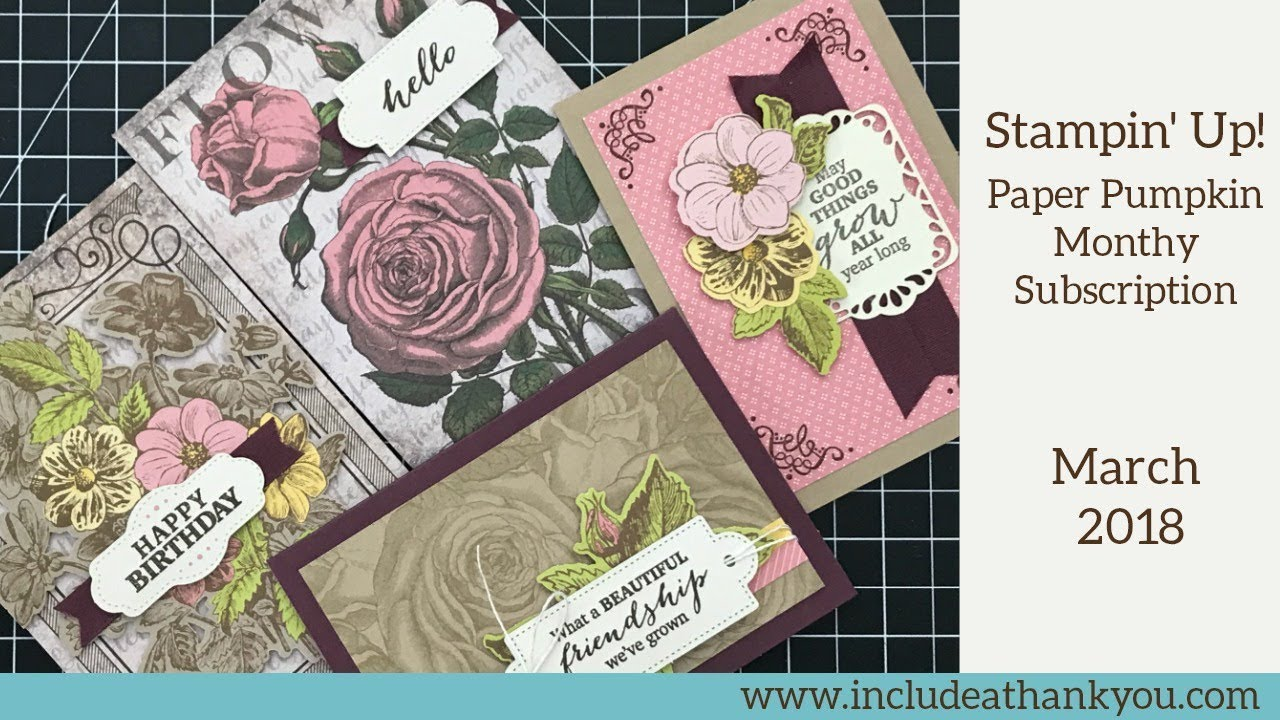 Stampin' up! paper pumpkin march 2018 monthly card kit