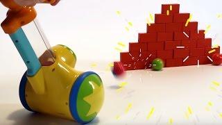 Поиграйка с Егором - Играем с пушкой, кубиками и кеглями - развивающее видео