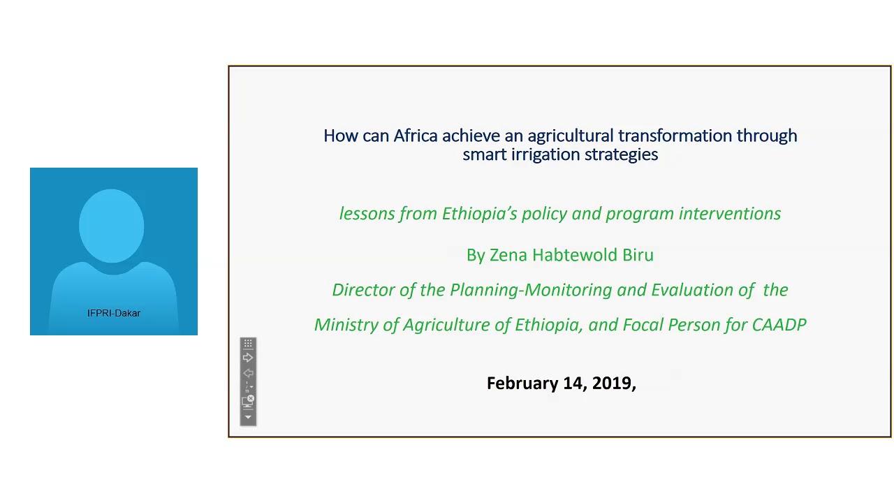 MaMo webinar: Ethiopian Experience in Irrigatiion Development by Mr  Zena  Habtewold Biru