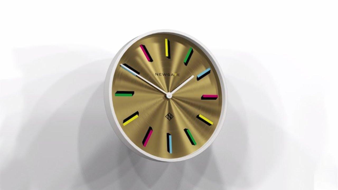 Newgate Clocks Modern Gold Brass Silent Wall Clock Multi colour Marker 60cm