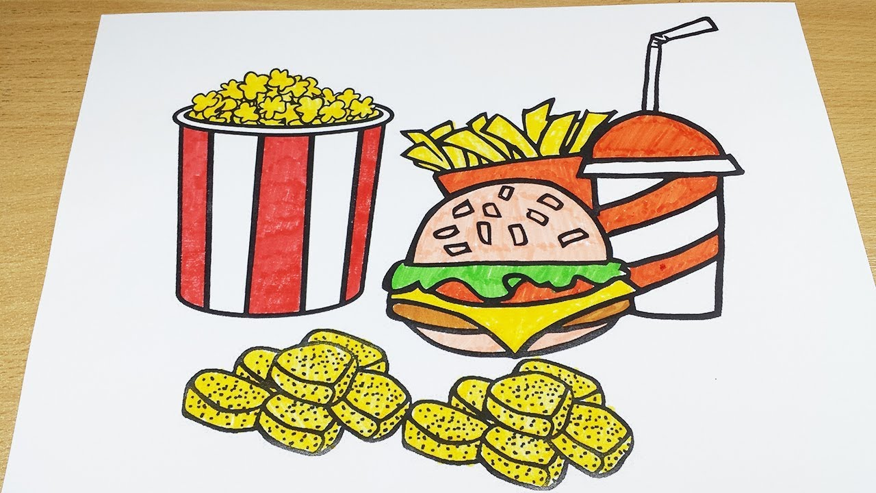Coloring Pages Fast Food Food Coloring Videos Fries Popcorn Burger