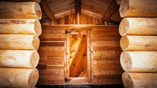 Log Cabin Sauna in the Forest, DIY Build: Cedar Floor, Door and Benches