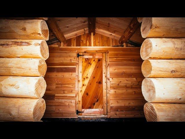 Log Cabin Sauna in the Forest, DIY Build: Cedar Floor, Door and Benches