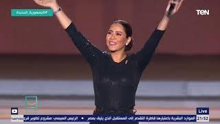 الفنانة شيرين تلقي التحية العسكرية أمام الرئيس السيسي بمؤتمر حياة كريمة وتغني لمصر