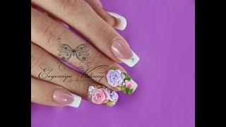 Лепка роза|Урок по лепке акрилом|Акриловая  роза|Свадебный дизайн ногтей|Подробный МК лепка